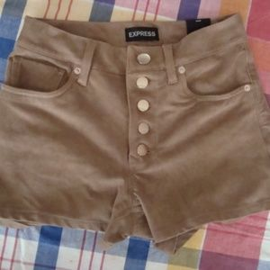 Express High Rise Faux Suede Button Front shorts 4